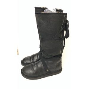 UGGS Tall Leather Tie up sz 8 Black